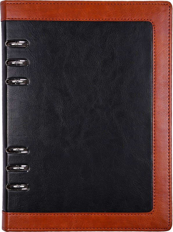 Atlas Regular Organizer(Black with Brown Border Personal Notebook, Multicolor)