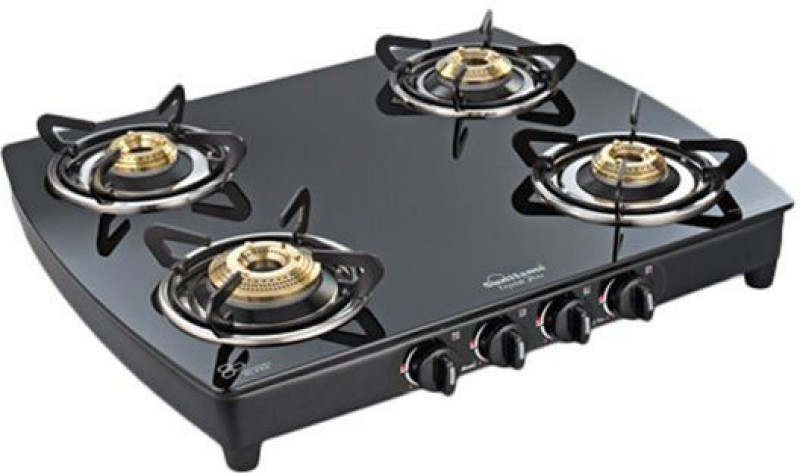 Sunflame Crystal Curve 4B BK AI Stainless Steel Automatic Gas Stove(4 Burners)