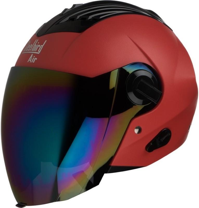 Steelbird AIR SBA-3 Dashnig Motorbike Helmet(Red with Rainbow Visor)