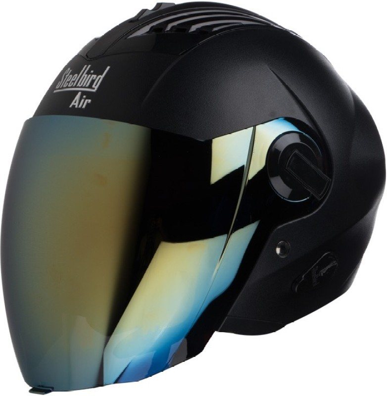 Steelbird AIR SBA-3 Dashnig Motorbike Helmet(Black with Gold Visor)