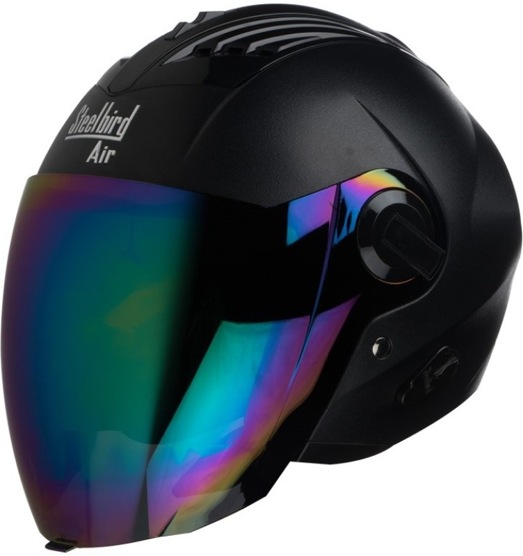 Steelbird AIR SBA-3 Dashnig Motorbike Helmet(Black with Rainbow Visor)