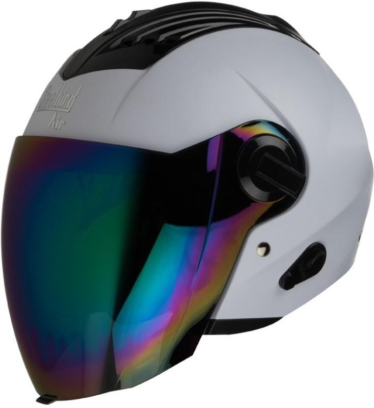 Steelbird AIR SBA-3 Dashnig Motorbike Helmet(White With Rainbow Visor)