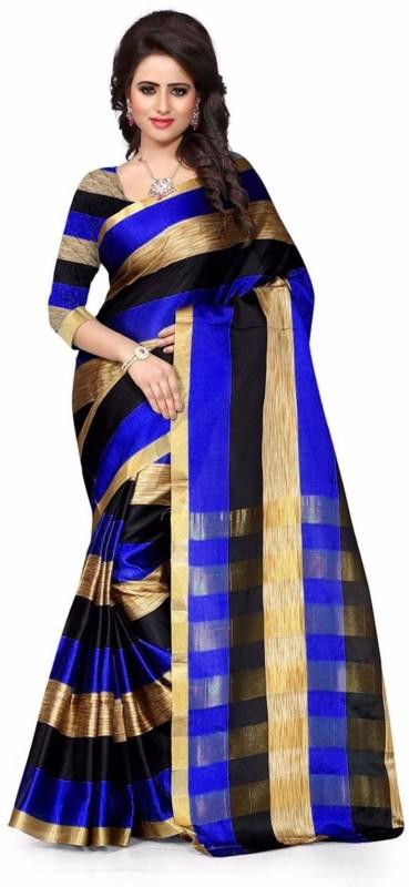 Azy Fabrics Striped Fashion Art Silk, Cotton Linen Blend Saree(Blue, Gold)