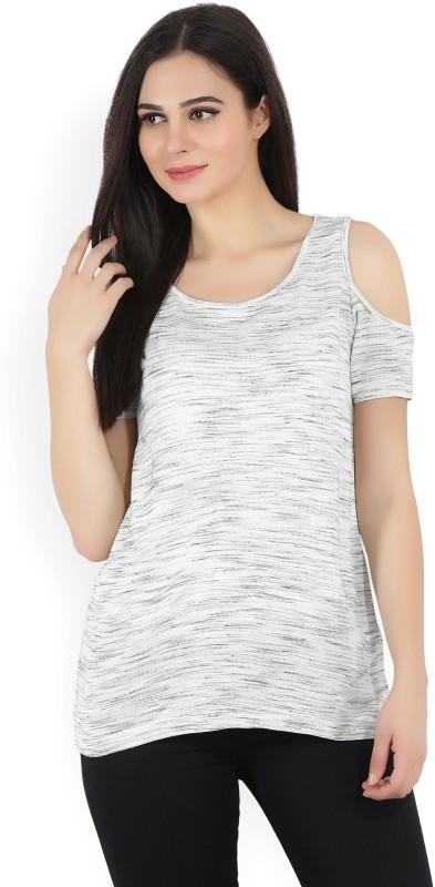 Bossini Casual Short Sleeve Self Design Women White, Grey Top