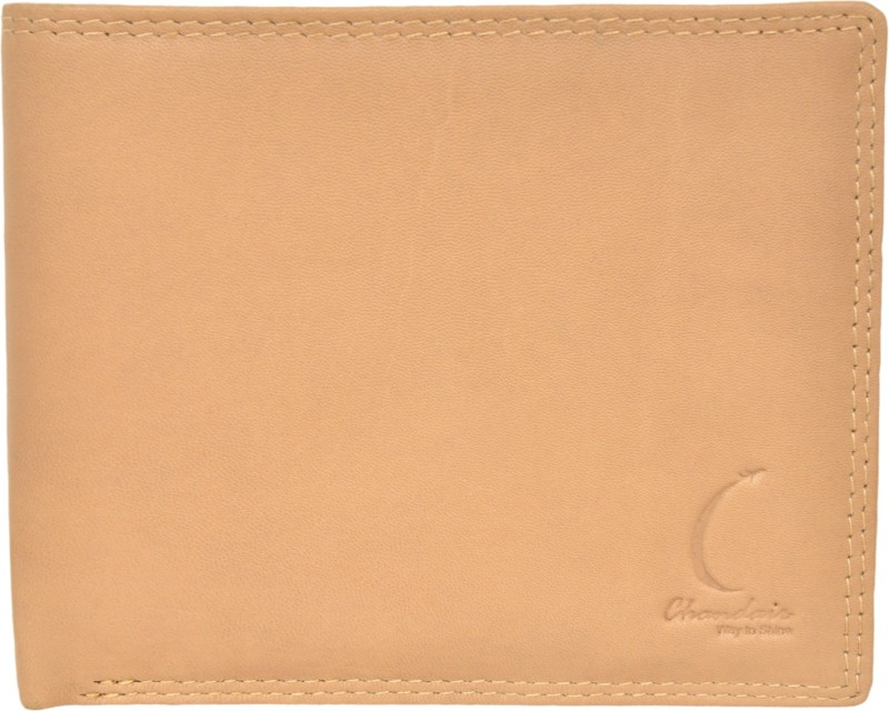 Chandair Men Beige Genuine Leather Wallet(8 Card Slots)
