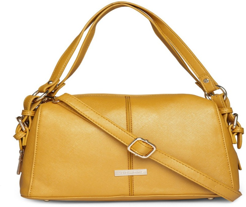 Addons Buckle Detailed Double Strap Duffle Shoulder Bag(Yellow, 5 L)
