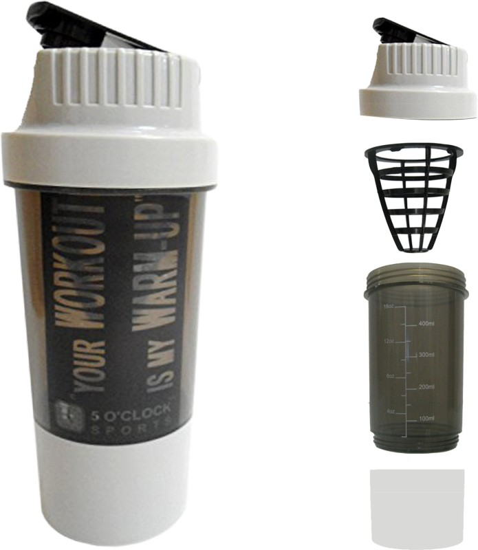 5 OClock Sports Cyclone Shaker Bottle - 450 ml- Premium Quality with Sleek and Convenient Design 450 ml Shaker(Pack of 1, Grey)