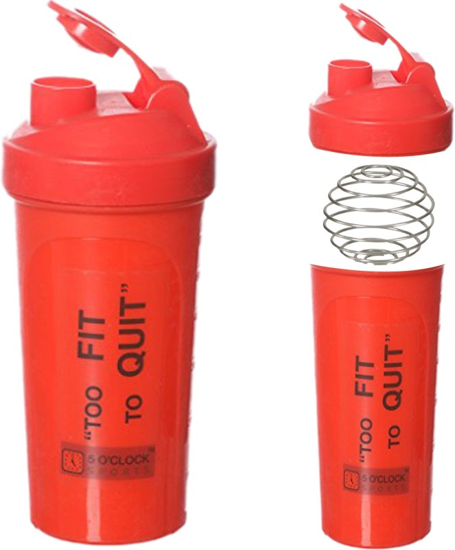 5 OClock Sports Classic Shaker Bottle - 600 ml- Sleek and Convenient Design 600 ml Shaker(Pack of 1, Red)