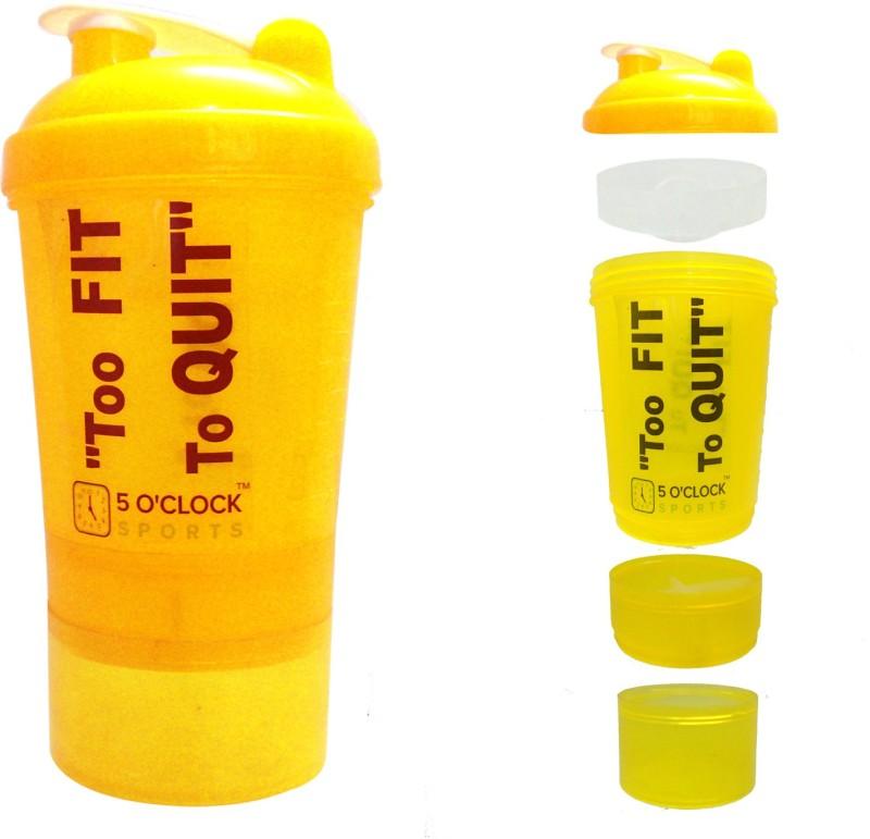 5 OClock Sports Yoyo Shaker Water Bottle - 700ML- Big Compartment For Dry Stuff 700 ml Shaker(Pack of 1, Yellow)