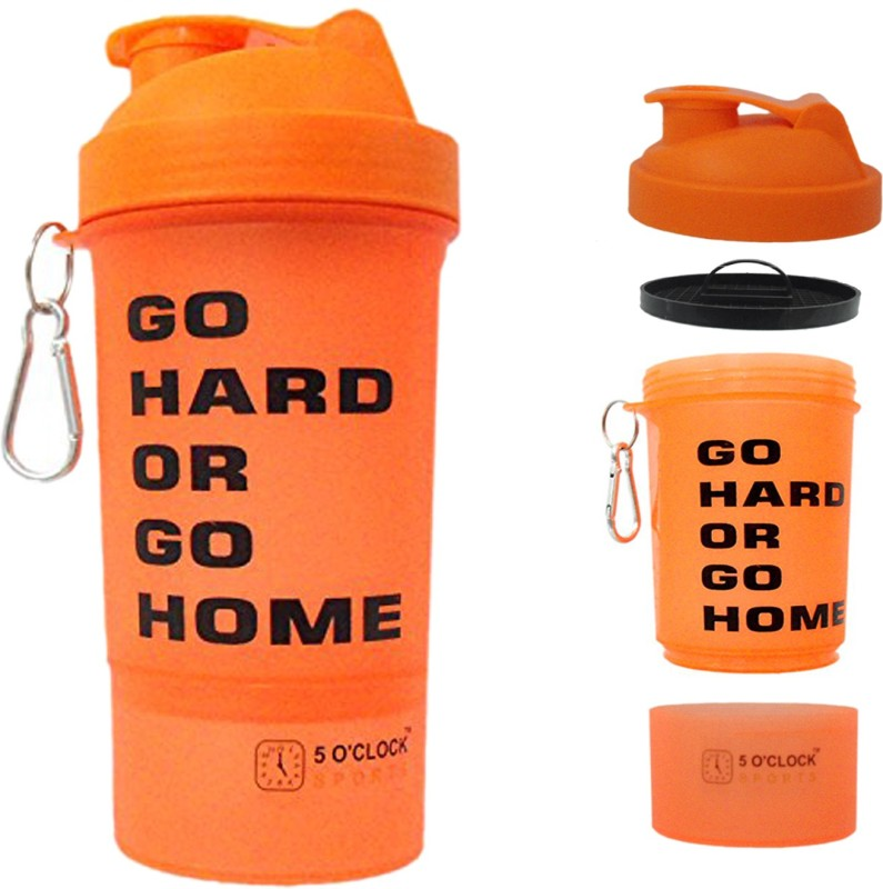 5 OClock Sports Tiger Shaker Water Bottle - 600 ML - Single Unit - For Gym & Protein Shakes 600 ml Shaker(Pack of 1, Orange)