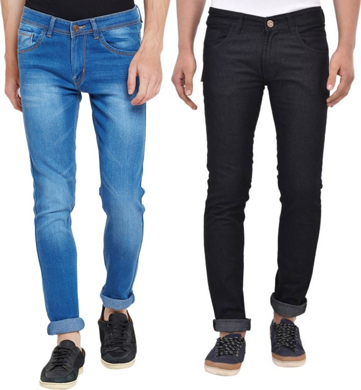 Stylox Slim Men's Multicolor Jeans(Pack of 2)