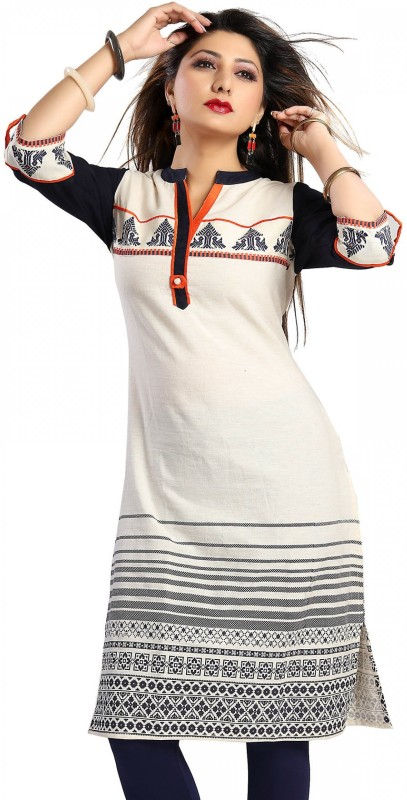 Meher Impex Casual Embroidered Women's Kurti(White, Black)