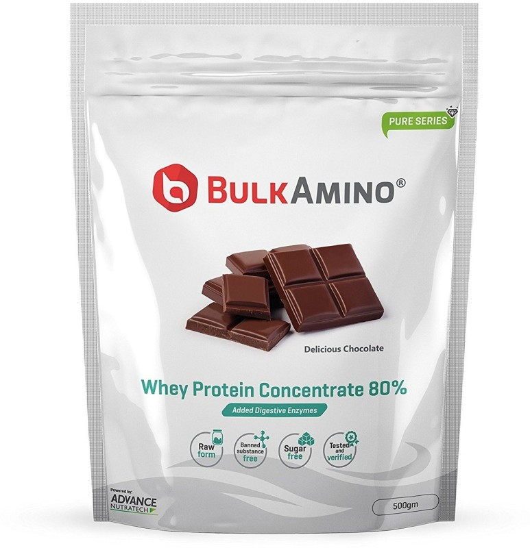 Advance Nutratech Bulkamino Whey Protein Concentrate 80 % Raw Protein 500G Chocolate Protein Blends(500 g, Chocolate)