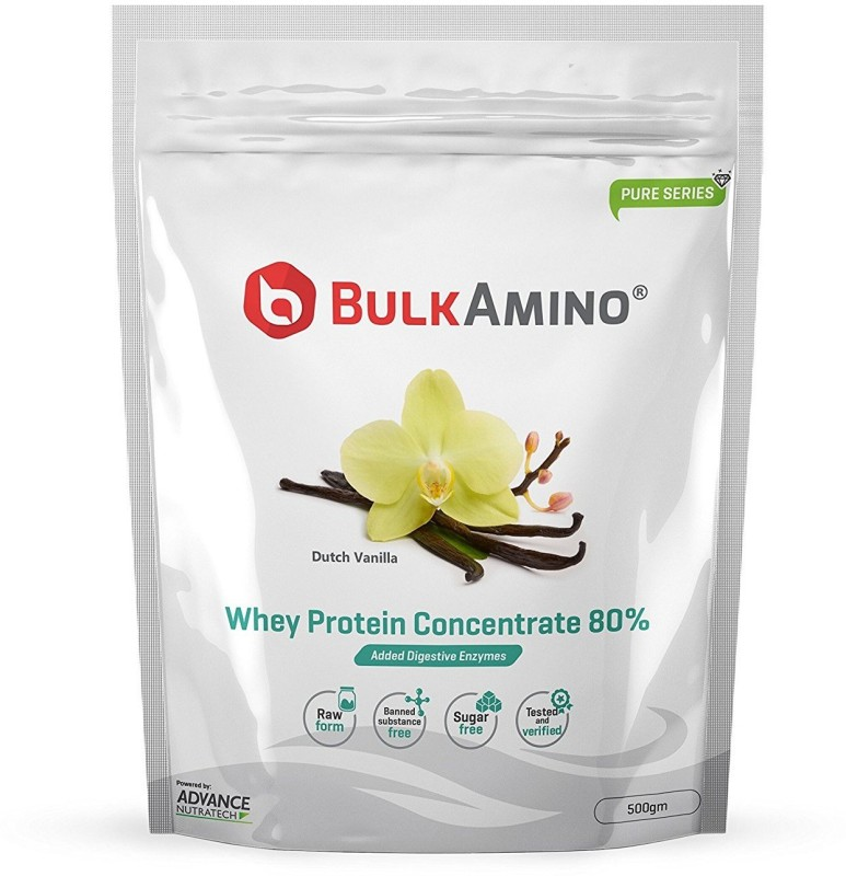 Advance Nutratech Bulkamino Whey Protein Concentrate 80 % Raw Protein 500g Vanilla flavour standard powder with 16 Servings. Protein Blends(500 g, Vanilla)