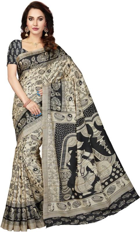 Rani Saahiba Printed Kalamkari Tussar Silk, Khadi, Art Silk Saree(Beige, Black)