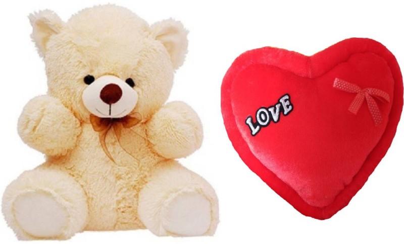 AVS Combo of Stuffed Spongy Hugable Cute Teddy Bear Cream Color 60 CM & Love Heart 35 CM For Valentine Day Gift - 60 cm(Cream, Red)