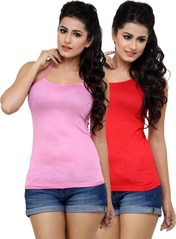 Falguni Fashion Casual Sleeveless Solid Women Red, Pink Top