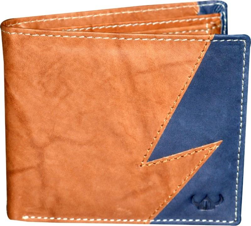 DHide Designs Men Tan, Blue Genuine Leather Wallet(6 Card Slots)