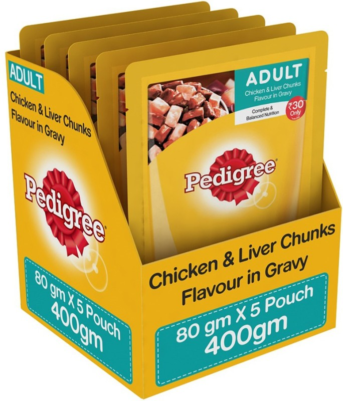 Pedigree Gravy Chicken, Liver Wet Dog Food(Pack of 5)