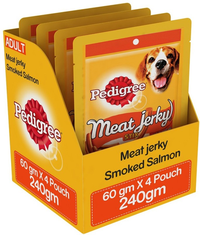 Pedigree Meat Jerky Stix Smoked Salmon Dog Treat(240 g, Pack of 4)