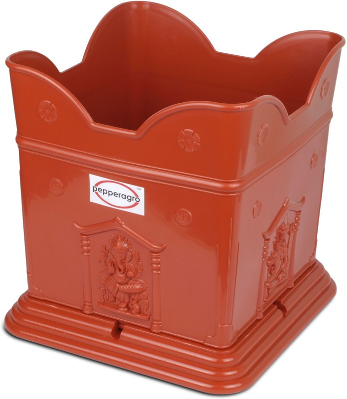 Pepper Agro Brindavan Tulsi Pot Terracotta 1Qty Plant Container(Plastic, External Height - 24 cm)