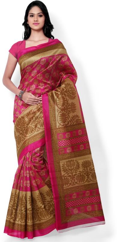 Indrani Printed Bhagalpuri Art Silk Saree(Pink)