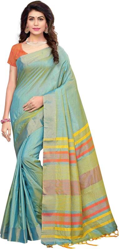 PAGAZO Solid Banarasi Tussar Silk Saree(Green)