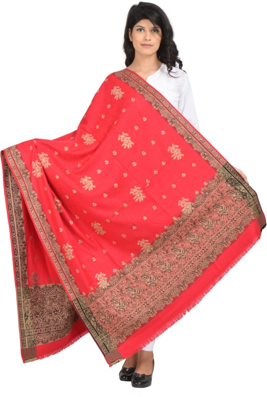 Baisa Wool Embroidered Women's Shawl(Pink)