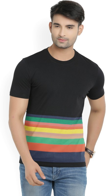 United Colors of Benetton Printed Mens Round Neck Black T-Shirt