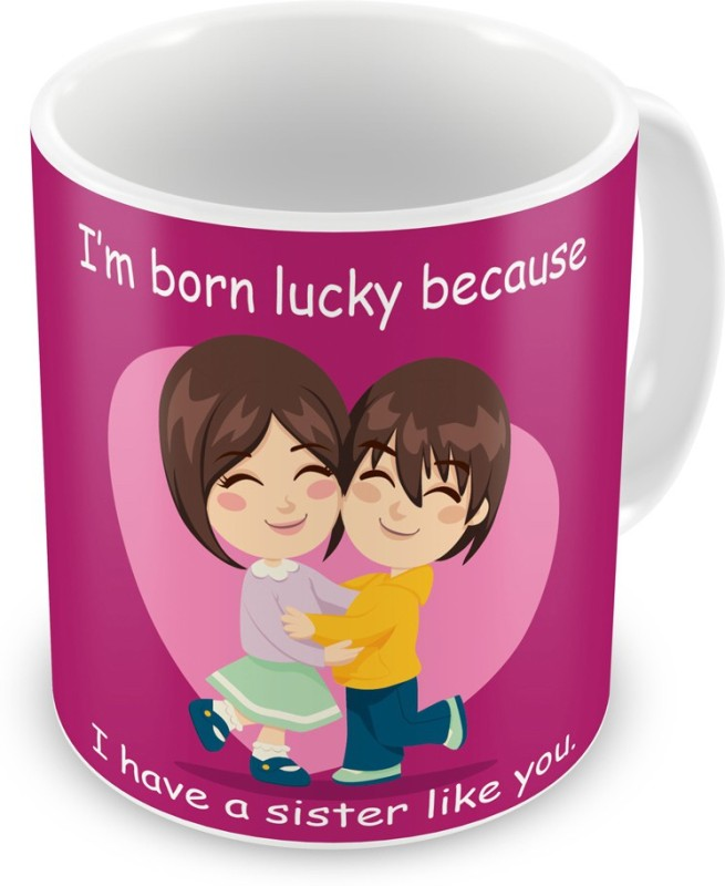 Indigifts Return Gift for Raksha Bandhan Rakhi Gifts for Sister on Bhaidooj Birthday Anniversary (IDSRAF16193) Ceramic Mug(330 ml)