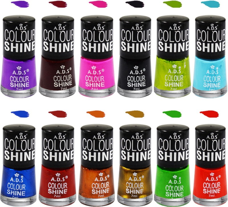 ADS A2 Colour Shine Nail Paint Multicolor(7 ml, Pack of 12)