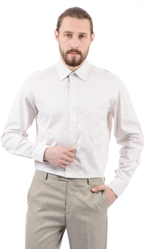 Arrow Men Checkered Formal Beige Shirt