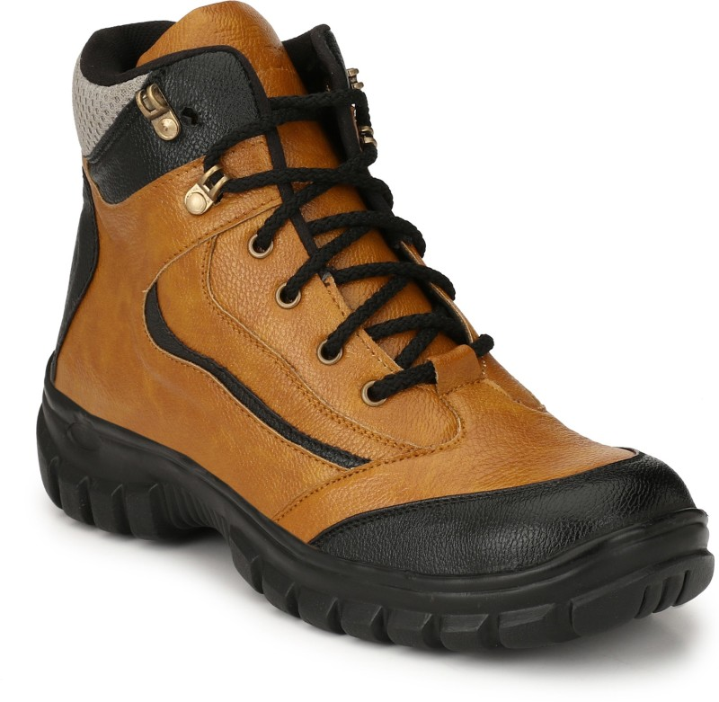 Eego Italy Safety Steel Toe Boots For Men(Tan, Black)