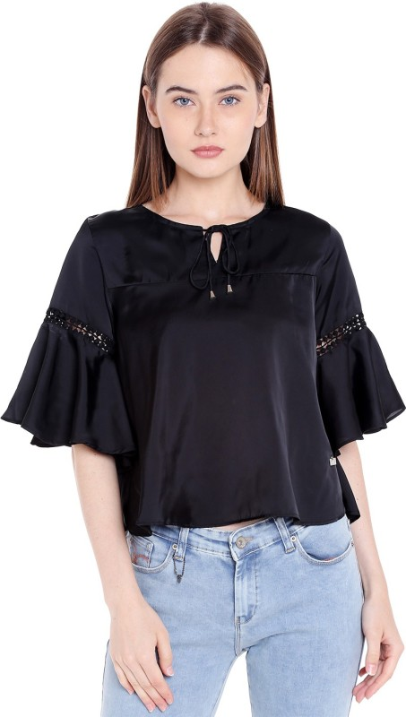 Spykar Casual 3/4th Sleeve Solid Womens Black Top