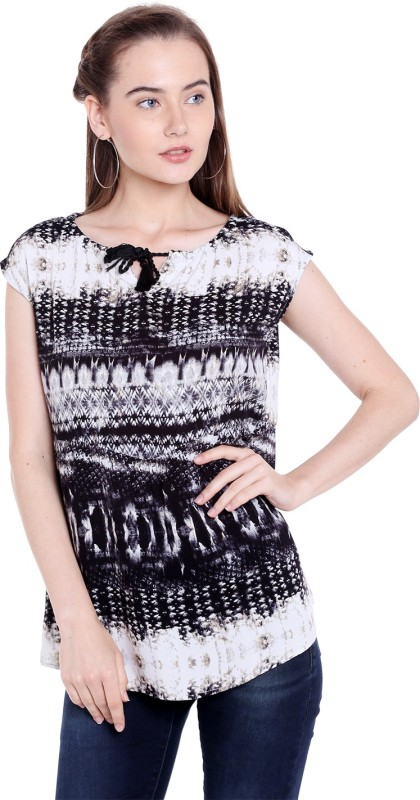 Spykar Casual Sleeveless Printed Womens Black Top