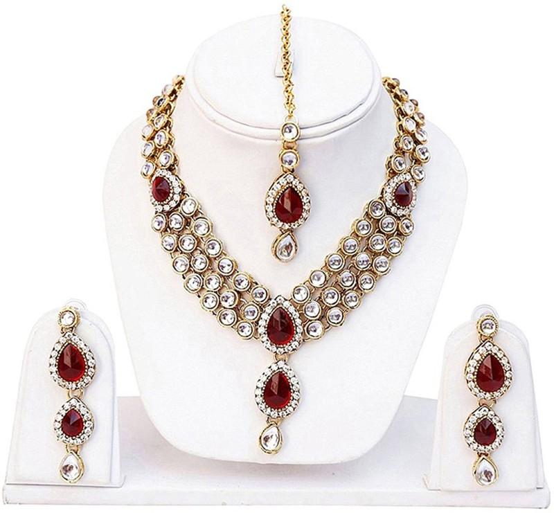 Karatcart Alloy Jewel Set(Red)