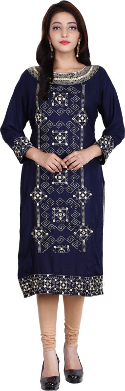 Be You Fashions Women Embroidered Straight Kurta(Dark Blue)
