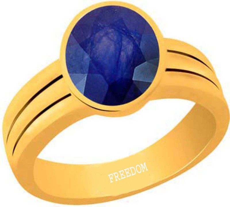 Freedom Natural Certified Blue Sapphire (Neelam) Gemstone 9.25 Ratti or 8.41 Carat for Male & Female Panchdhatu 22K Gold Plated Alloy Ring