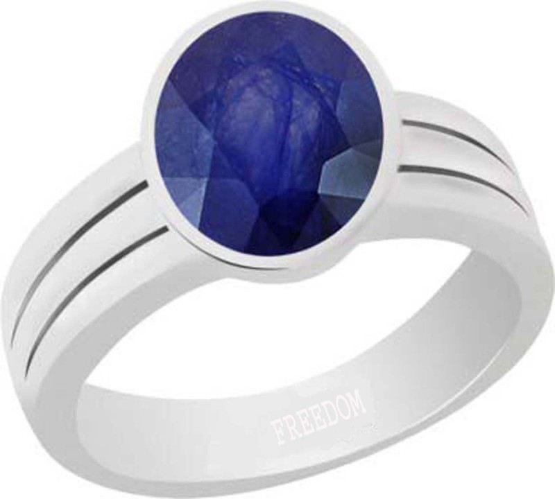 Freedom Natural Certified Blue Sapphire (Neelam) Gemstone 10.25 Ratti or 9.32 Carat for Male & Female Sterling Silver Ring