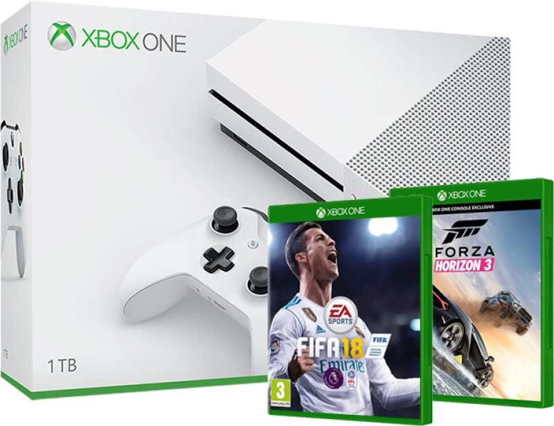 Microsoft Xbox One S Console (Game Code) One TB with Forza Horizon 3, Fifa 18(White)