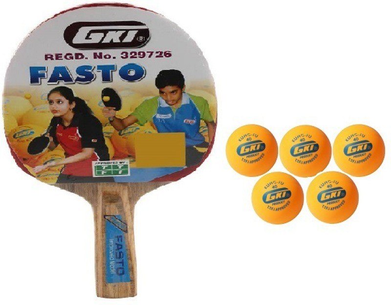 GKI Combo of Two, One 'Fasto' table tennis racquet and Five 'KUNG FU' Ping Pong Balls- Table Tennis Kit