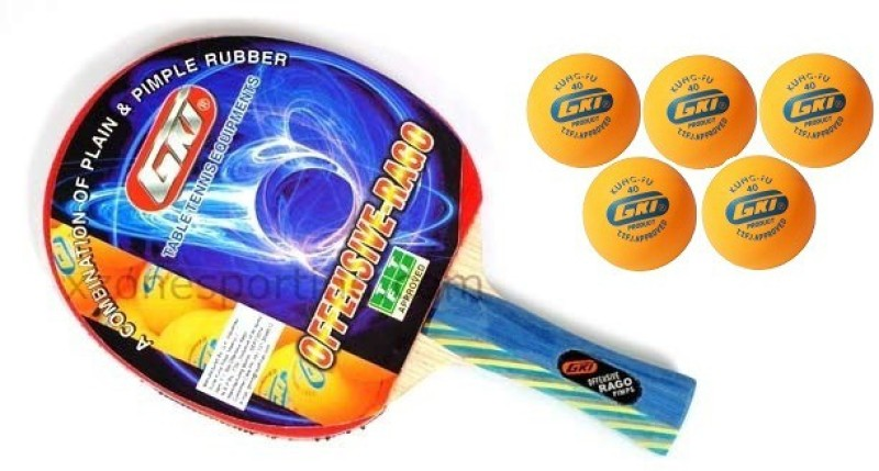 GKI Combo of Two, One 'Offensive Rago ' table tennis racquet and Five 'KUNG FU' Ping Pong Balls- Table Tennis Kit