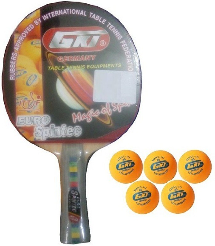 GKI Combo of Two, One 'Euro Spintec' table tennis racquet and Five 'KUNG FU' Ping Pong Balls- Table Tennis Kit