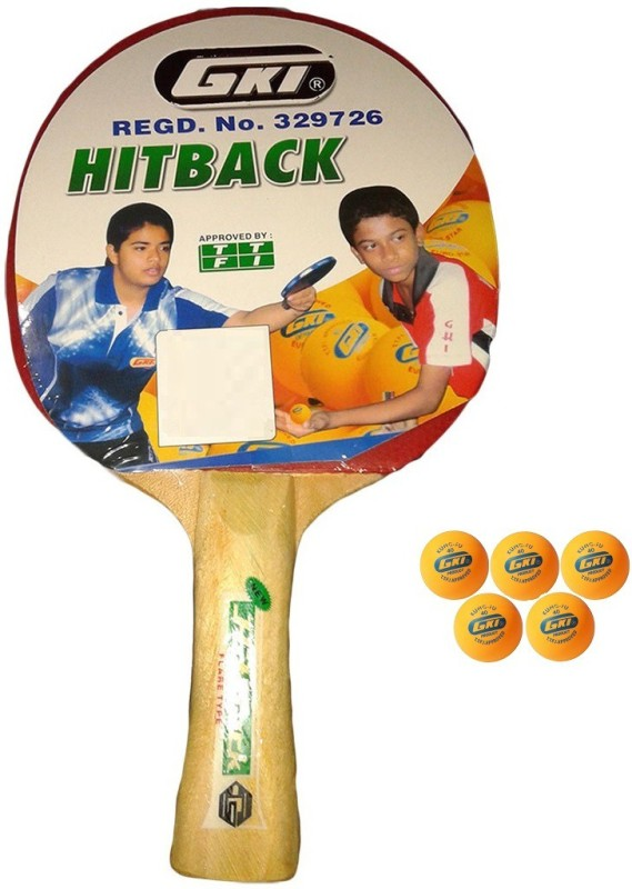 GKI Combo of Two, One Hit Back table tennis racquet and Five KUNG FU Ping Pong Balls- Table Tennis Kit