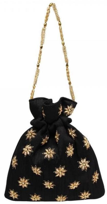 Vdesi Gold flower potli Potli(Black)