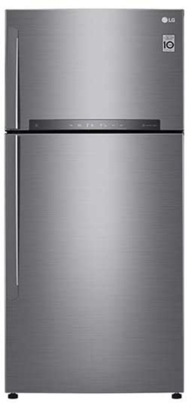 LG 516 L Frost Free Double Door Refrigerator(Shiny Steel, GN-H602HLHU)