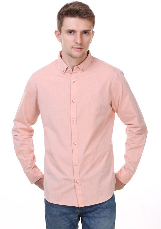 United Colors of Benetton Mens Solid Casual Beige Shirt