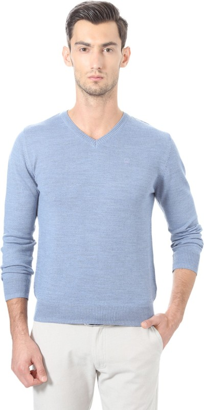 Allen Solly Solid V-neck Casual Men Blue Sweater