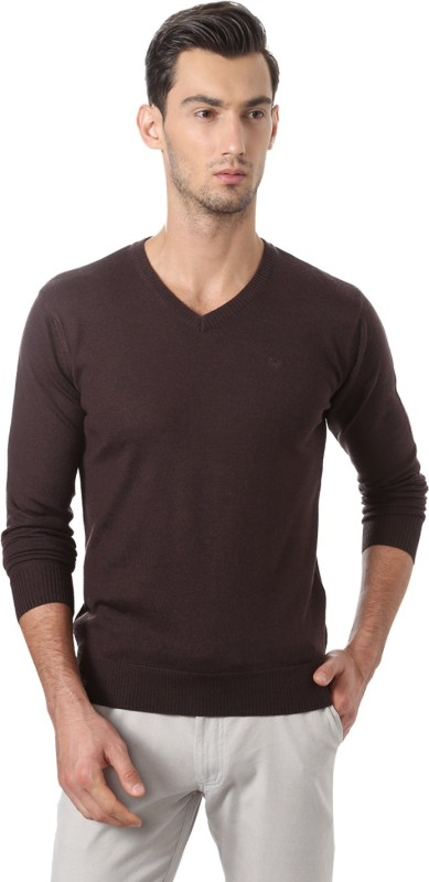 Allen Solly Solid V-neck Casual Men Brown Sweater