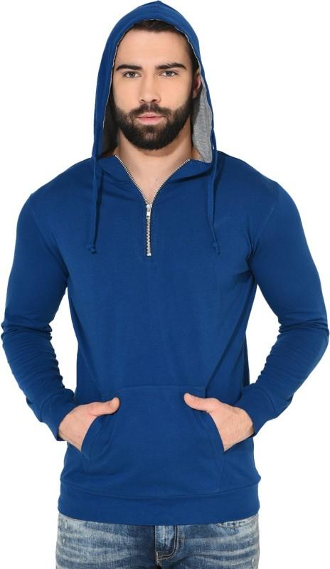 Gritstones Solid Men's Hooded Blue, Grey T-Shirt